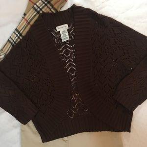 White Stag Sweater Cardigan Short Brown Medium